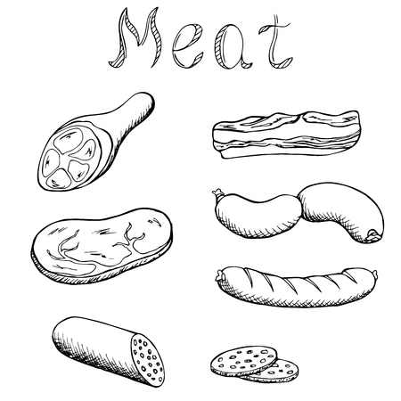 veal sausage: Meat set graphic art black white isolated illustration vector