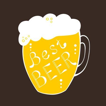 pint: Pint mug best beer text yellow illustration vector Illustration