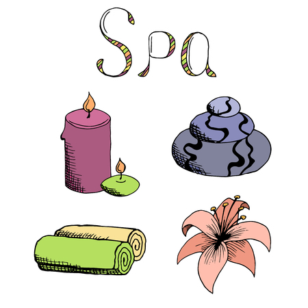 set in stone: Spa set stone candle towel lily graphic art color illustration vector