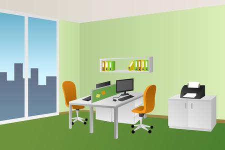 Office Room Green Interior White Table Orange Chair Window Illustration..  Royalty Free Cliparts, Vectors, And Stock Illustration. Image 55159302.