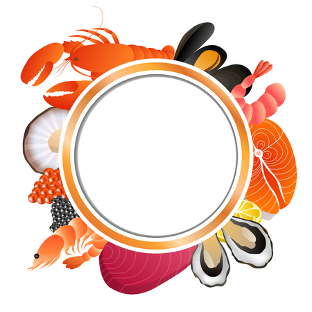 caviar: Circle frame food background fish mussel shrimp oyster salmon lobster tuna caviar scallop vector