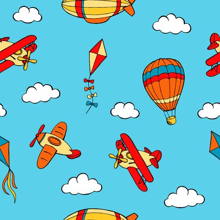 Flying airplane balloon airship kite cloud graphic art color seamless pattern illustration vector Vettoriali