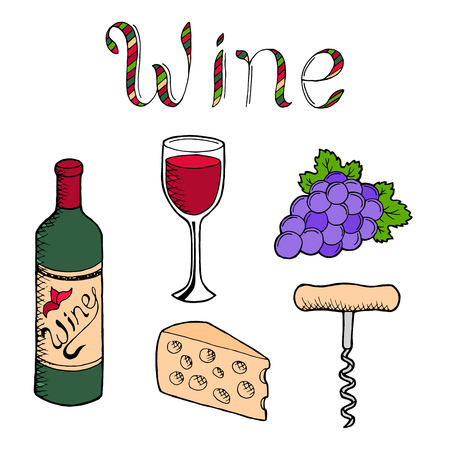 alfa: Wine graphic set art color isolated illustration vector