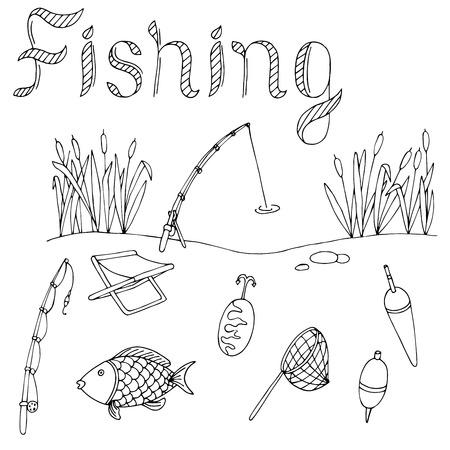 alfa: Fishing graphic art black white isolated illustration vector
