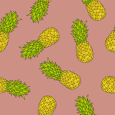 alfa: Pineapple graphic art color seamless pattern illustration vector Illustration