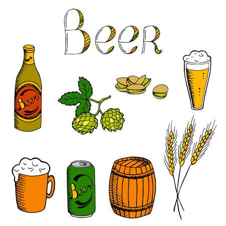 alfa: Beer graphic set art color illustration vector