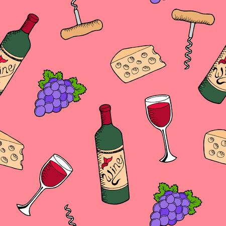 alfa: Wine graphic art color seamless pattern illustration vector