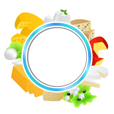 gouda: Circle blue frame cheese food set different types background illustration vector Illustration
