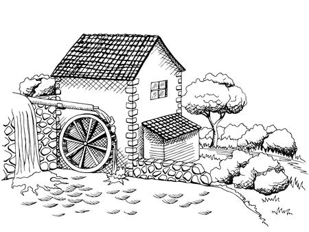 molino de agua: Molino de agua del arte gráfico negro paisaje blanco ilustración vectorial Vectores