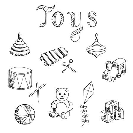 alfa: Toys graphic art set black white isolated illustration vector Illustration