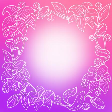 alfa: Flower white violet pink circle frame abstract background illustration vector Illustration