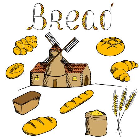 alfa: Bread graphic art set color isolated illustration vector