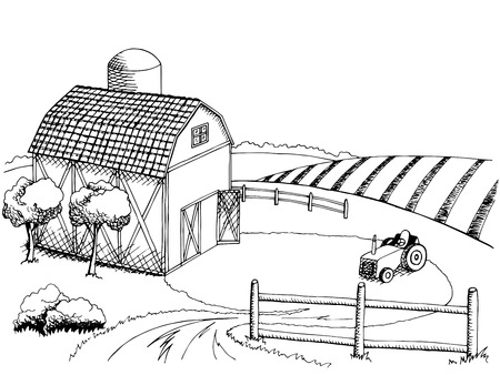 Farm field graphic art black white landscape illustration vector Stock Illustratie