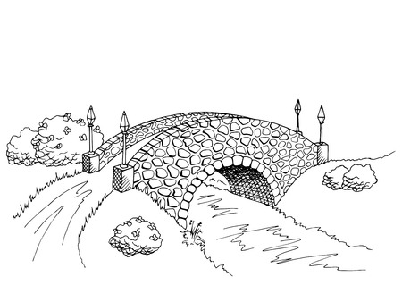 bridge in nature: Bridge graphic art black white river landscape illustration vector Illustration