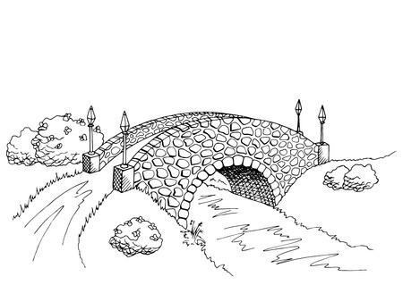 Bridge graphic art black white river landscape illustration vector Illustration