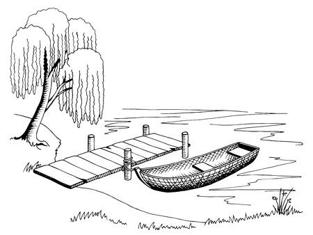 Boat pier graphic art black white landscape illustration vector
