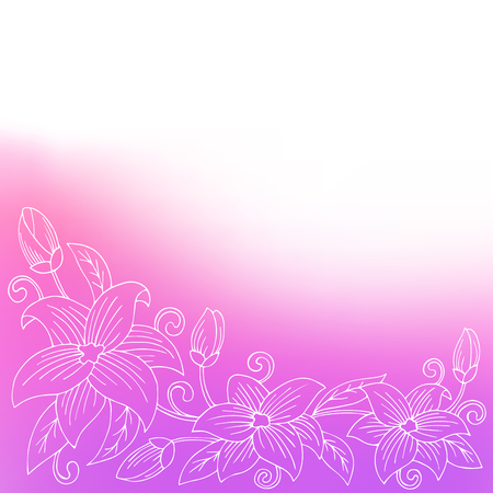 at the bottom of: Flower violet pink abstract bottom background illustration vector