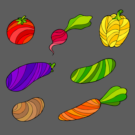 abstract art vegetables: Vegetables set graphic art abstract isolated illustration vector Illustration