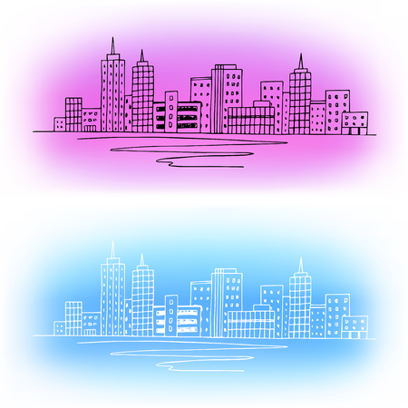 lake district: City graphic art color abstract background illustration vector