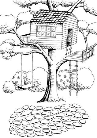 Vector de ilustración de paisaje blanco y negro de casa de árbol de arte gráfico