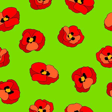 alfa: Poppy flower red green graphic art color seamless pattern illustration vector Illustration