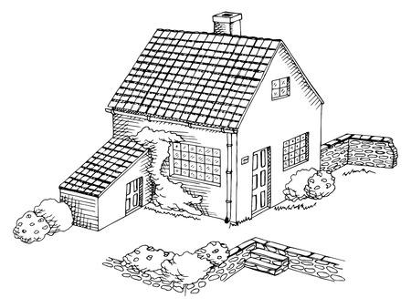 Maison de village art graphique paysage blanc illustration noir vecteur Banque d'images - 56912803
