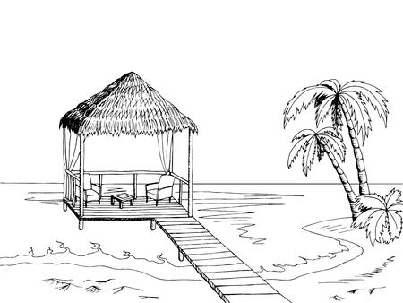 Sea coast graphic art black white landscape illustration vector Vettoriali