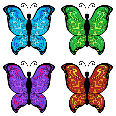 butterfly stroke: Abstract butterfly color blue red yellow green pink violet illustration vector Illustration
