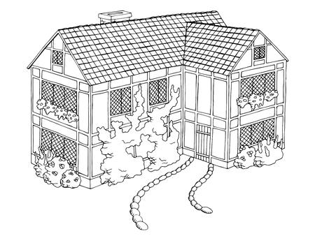 村の家グラフィック アート ブラック白の風景イラスト