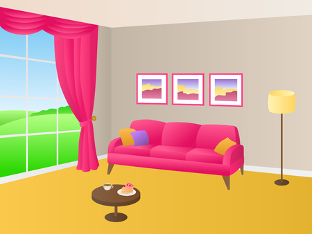 violet residential: Living room yellow pink sofa pillows lamp window illustration vector