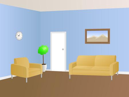 white door: Waiting room interior blue beige armchair sofa illustration vector
