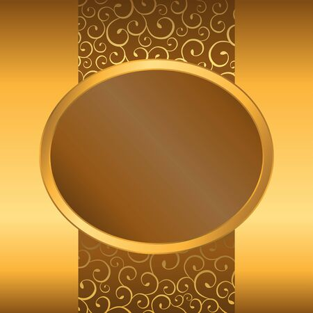 gold brown: Abstract background yellow brown gold ellipse frame illustration vector Illustration