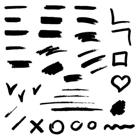 Black brush stroke set illustration vector