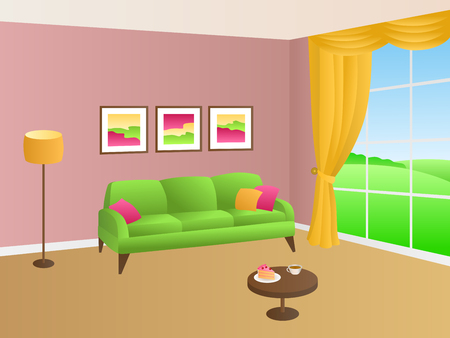 livingroom: Livingroom green pink sofa yellow pillows lamp window illustration vector