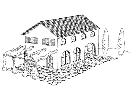 villa: Village villa house graphic art black white landscape illustration vector