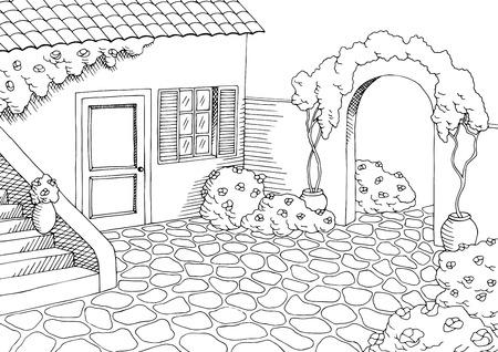 Maison de village art graphique cour paysage blanc illustration noir vecteur