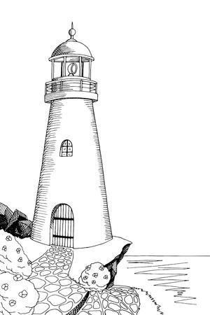 art graphique phare noir blanc paysage de mer illustration vecteur