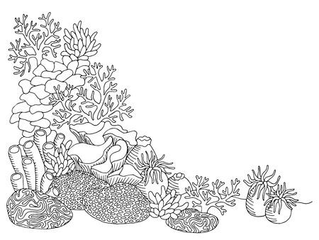arrecife: mar de coral del arte gráfico negro blanco paisaje submarino ilustración vectorial