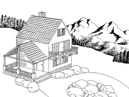 Village house graphic art black white landscape illustration vector Ilustracja