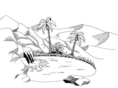 desert oasis: Oasis desert graphic art black white landscape illustration vector