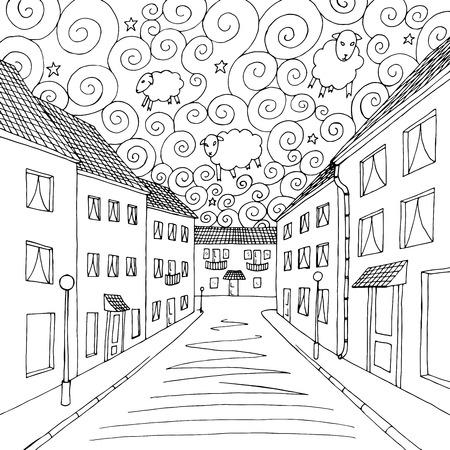 dreams of city: Dreams city graphic art black white illustration vector