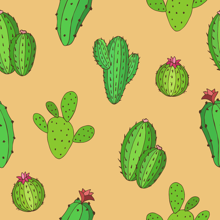 beige background: Cactus graphic art green color seamless pattern background illustration vector