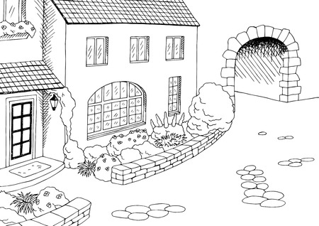 yard: Town old house yard graphic art black white illustration vector