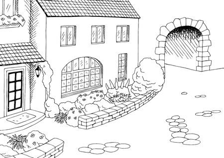 Ville ancienne maison yard art graphique illustration noir vecteur