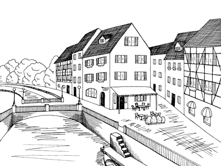 old town: Old town river bridge house graphic art black white illustration vector Illustration