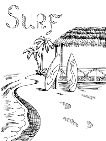 sea view: Surf board sea graphic art black white landscape illustration vector