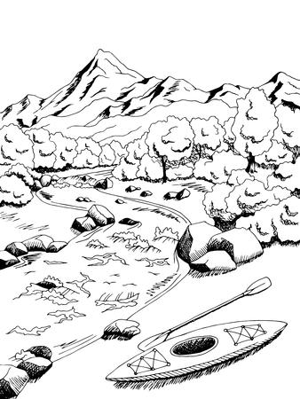 Mountain river kayak boat graphic art black white landscape illustration vector