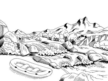 raft: Raft river mountain boat graphic art black white landscape sketch illustration