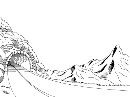 highway tunnels: Mountain road tunnel graphic art black white landscape sketch illustration