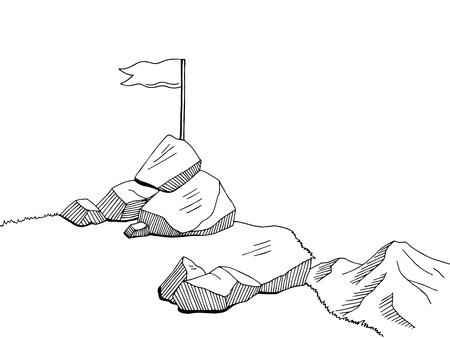 top of mountain: Top mountain graphic art flag black white landscape sketch illustration Illustration
